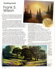 Artist Frank Wilson Featured In Northern California Spaces Magazine